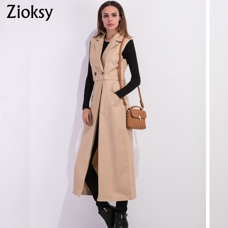 Zioksy 2017 Women X-Long Coat Double Breasted Slim Suit Collar Soild vest sleeveless   Trench   Coat Outwears
