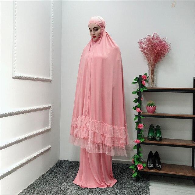 Women Prayer Garment Muslim Clothing Lace Hijab Dress Full Cover Abaya Long Robe Ramadan Islamic Dubai Arab Gown Praying Kaftan