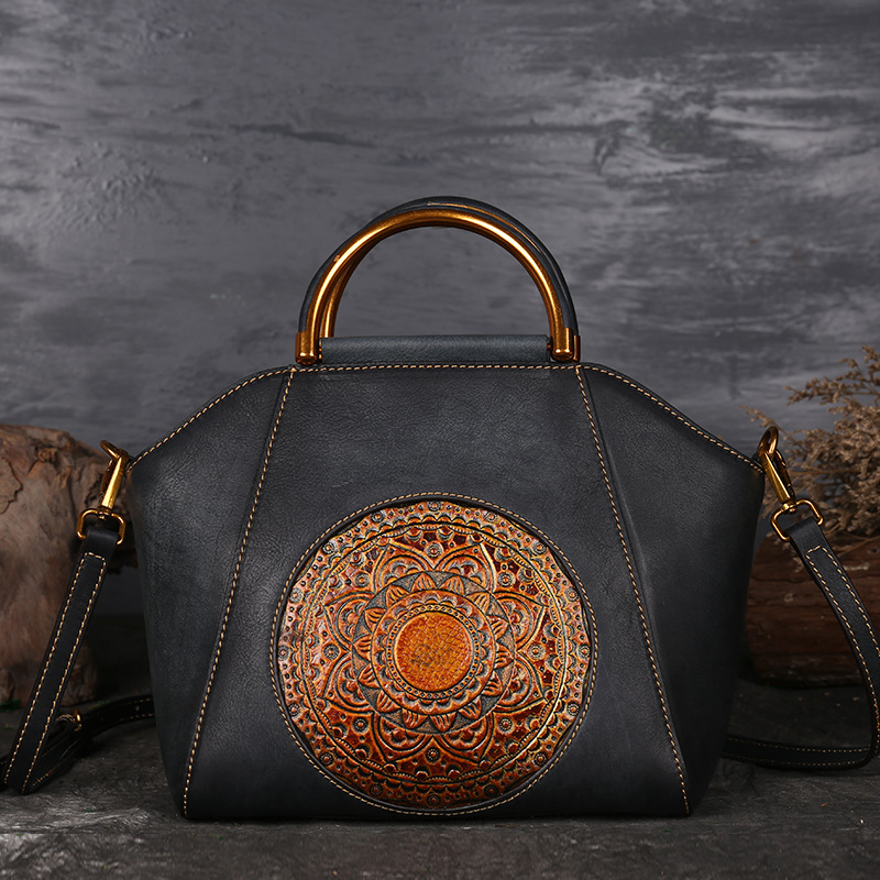 Vintage Women Genuine Leather Handbags Ladies Retro Elegant Shoulder Messenger Bag Cow Leather Handmade Womans Bags viewinbox vintage shoulder bag split leather casual women messenger handbags retro box case bag