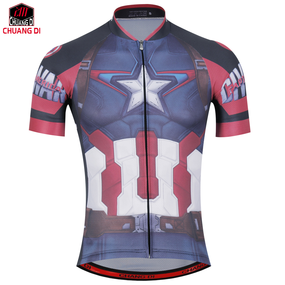 Pro Short Cycling Jerseys Captain America Bicycle Shirts