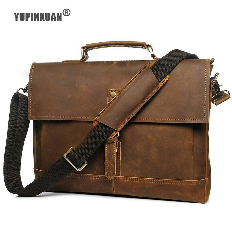 YUPINXUAN Top Luxury Cow Leather Handbags for Men Crazy Horse Leather Messenger Bags Vintage Hand Bag Retro Hombre Bloso Russian