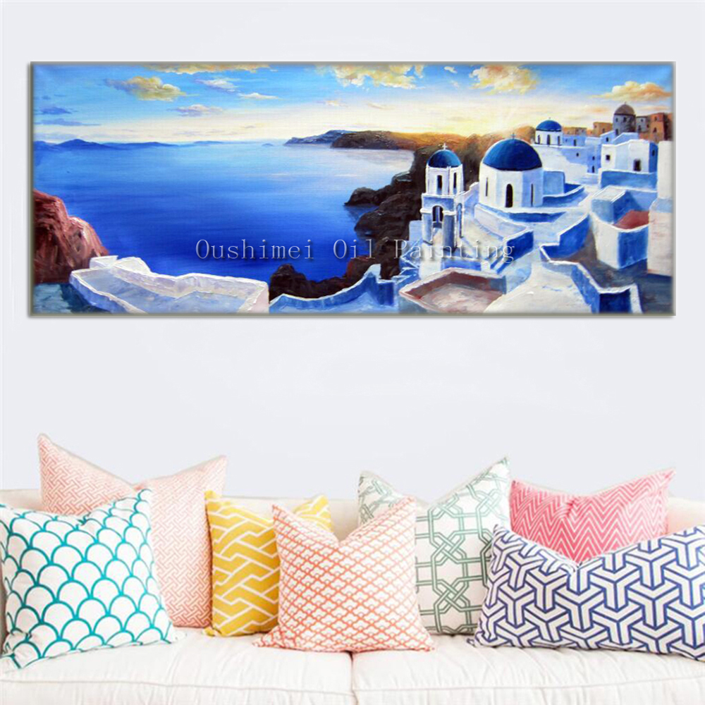 Hand Painted Modern Greek Landcape Picture on Canvas Wall Art Seascape Painting Hang Paintings Aegean Sea