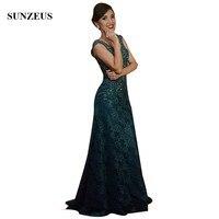 Vintage Lace Dresses Mother Groom Appliques Cap Sleeves V neck Beaded Mother Of The Bride Gowns Sheer Back vestidos de madrinha