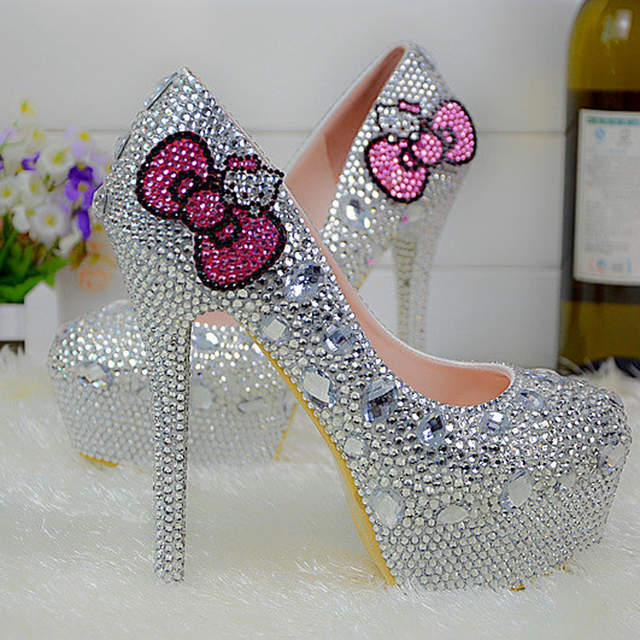 fa055346f4a5 placeholder Silver Rhinestone High Heel Shoes Formal Dress Pumps Round Toe Bridal  Wedding Shoes Party Prom Formal