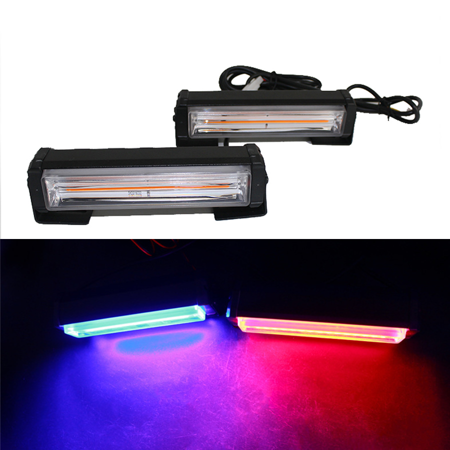 2PCS Red Yellow Blue White Car Truck LED Strobe Flash Warning Grille Lights Emergency Driving Light Bar Police Firefighter
