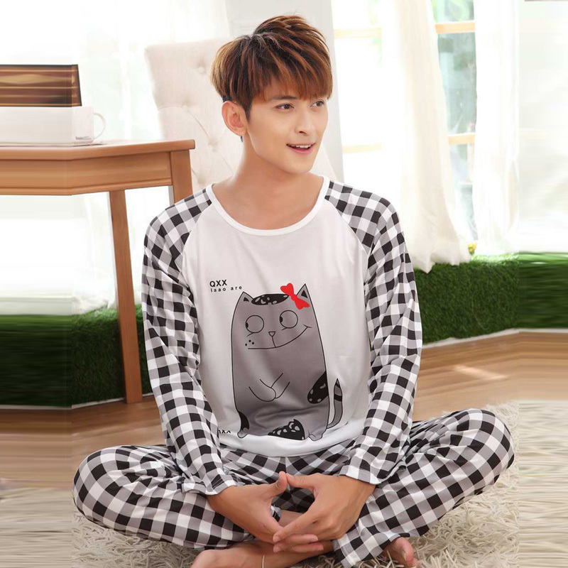 Spring Autumn men's Pyjamas models thin cotton pajamas set cartoon Pijama Mujer Sleepwear Suit long-sleeved fashion home service