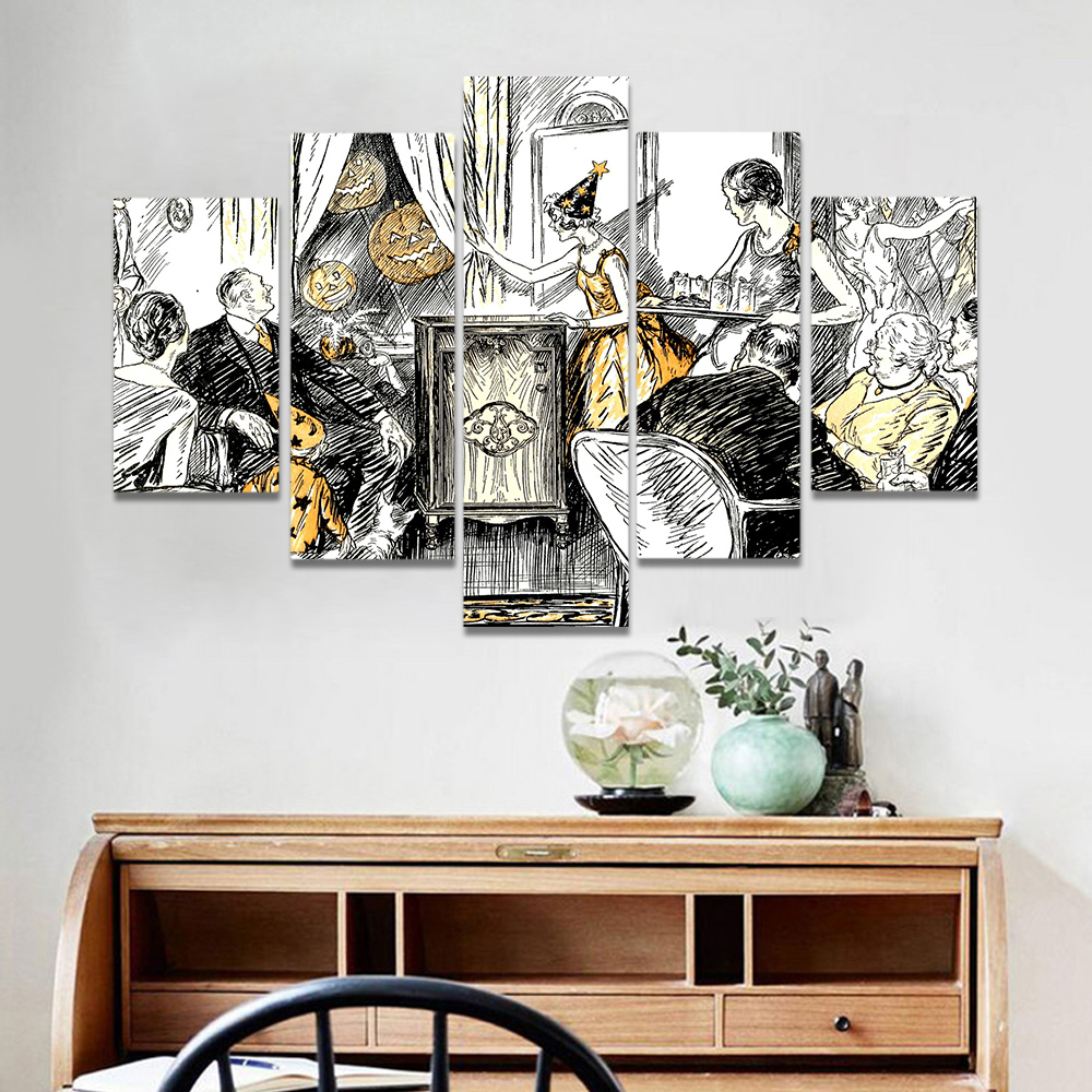Unframed Canvas Art Painting Sketch Family Party In Halloween Prints Wall Pictures For Living Room Wall Art Decoration