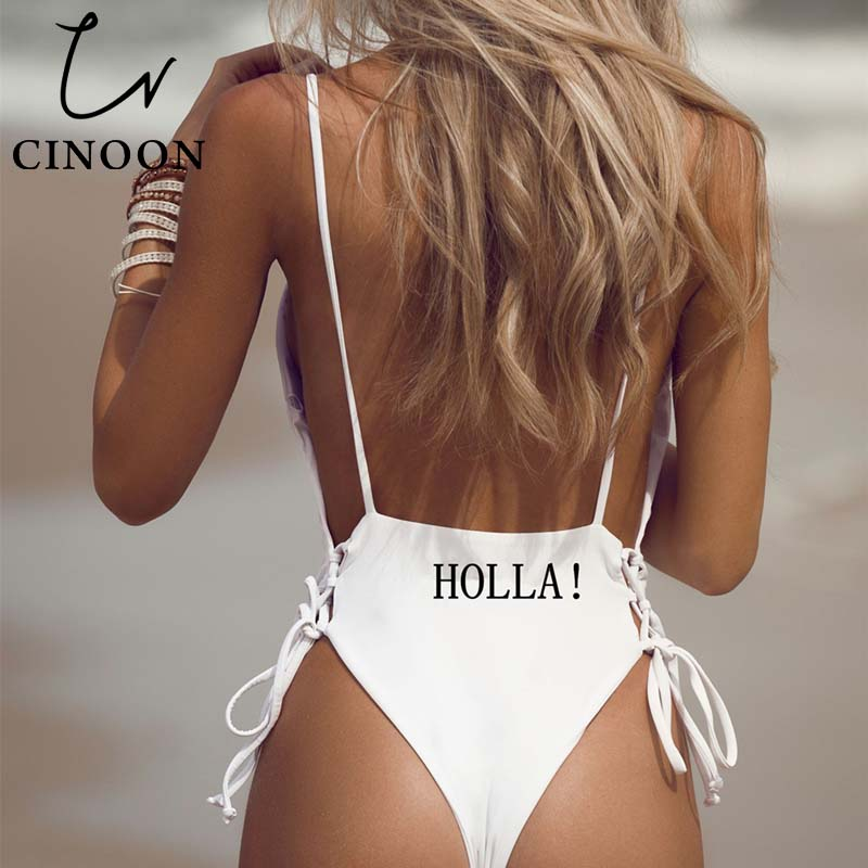 CINOON women Swimwear Sexy high cut one piece swimsuit Backless swim suit Black White Red thong