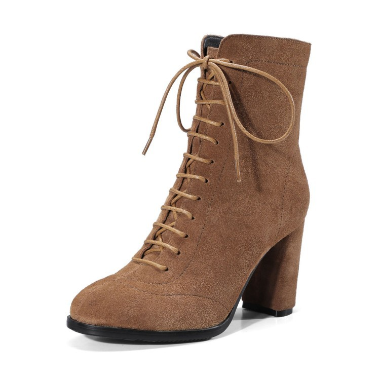Retro Women High Heels Martin Boots Suede Ankle Boots Winter Genuine Leather Black Lace Up Block Heels Booties Shoes front lace up casual ankle boots autumn vintage brown new booties flat genuine leather suede shoes round toe fall female fashion