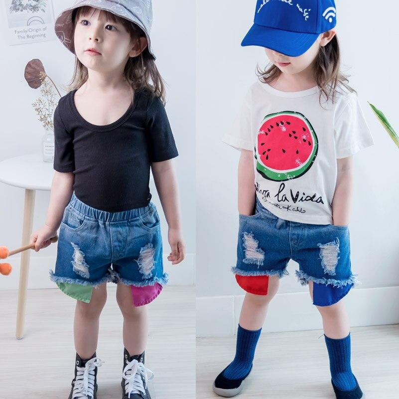 2018 Spodenki dżinsowe dziewczęce wersja letniej odzieży - Ubrania dziecięce - Zdjęcie 2