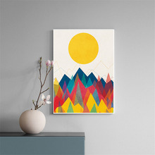 HAOCHU Nordic Decorative Painting Minimalist Abstract Impression Colorful Sun Peak Forest Home Mural Wall Picture Living Room