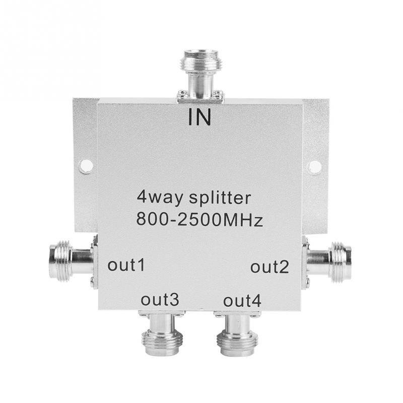 4-Way 800-2500MHz N Type Mobile Cell Phone Power Splitter Signal Repeater Amp Power Divider Power Splitter Divider