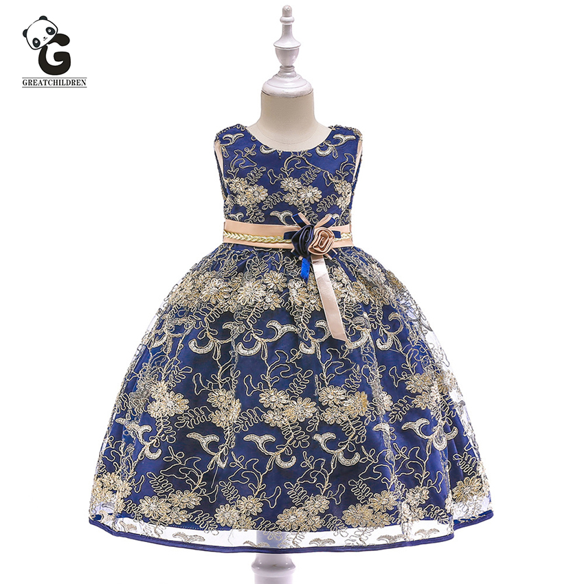 Embroidery Floral Kids Dresses for Girls Princess Formal Dresses Kids Wedding Evening Dress Prom Gown Flower Girls Party Dress