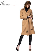 High quality color coat belt 2016 fashion women autumn wool coat lengthened elegant cocoon type cashmere coat 5 ss180