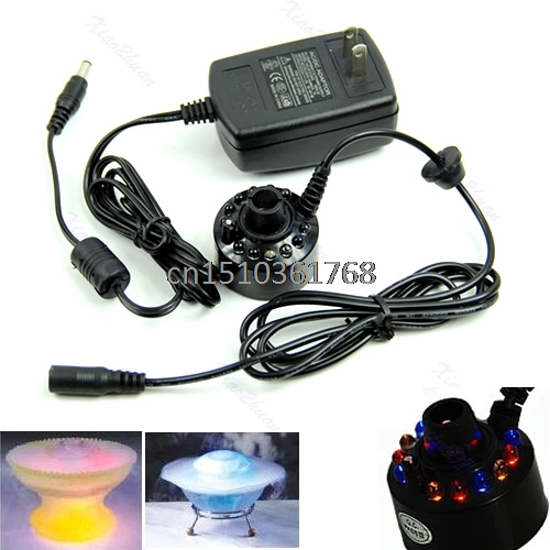 Ultrasonic 12-LED Mist Maker Fogger Atomizer Air Humidifer Water Fountain Pond #Y05# #C05#