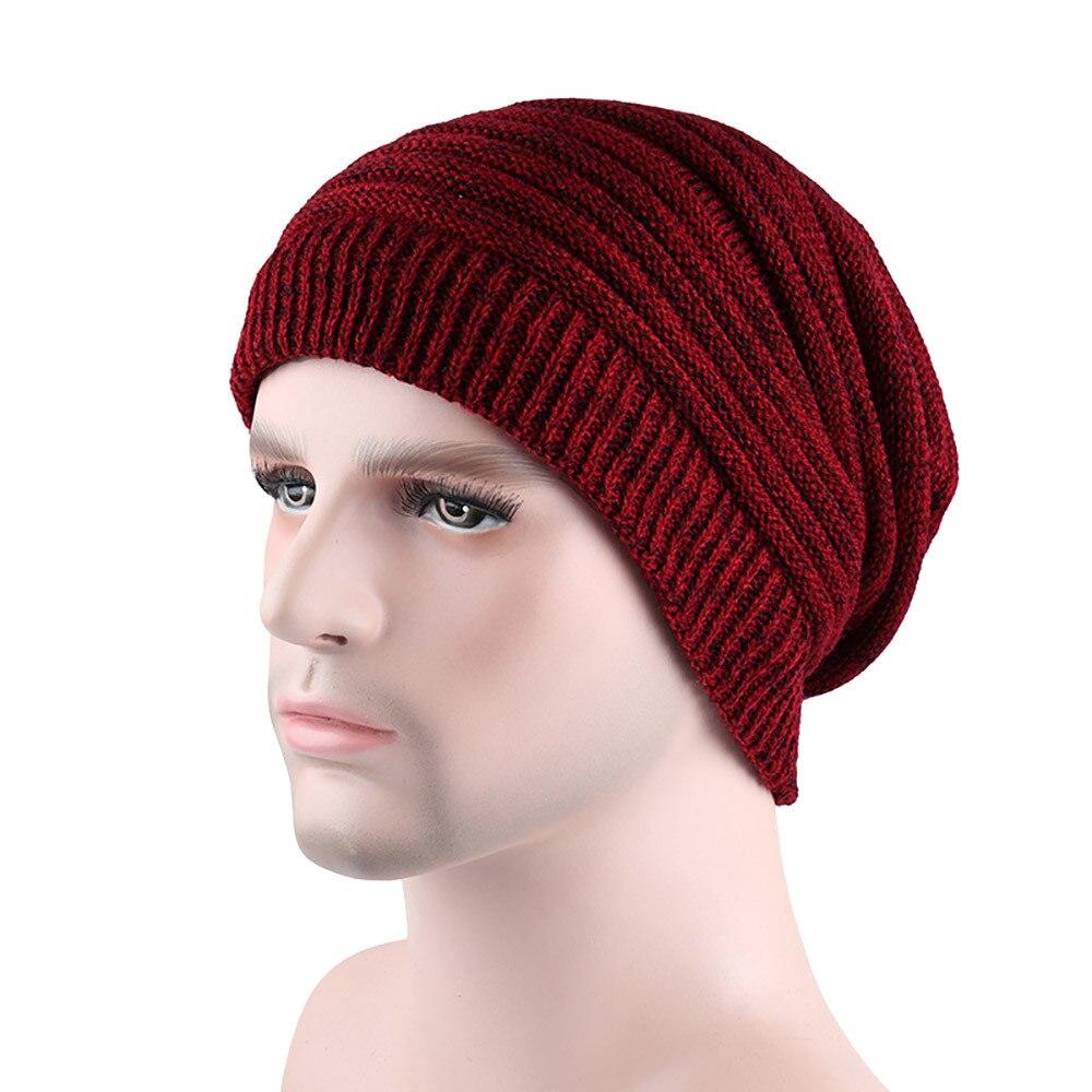 Sleeper 2018 New Fashion Men Casual Keep Warm Winter Crochet Hats Knitted Wool Warm Gift Solid Head Wear Hot #5001 Freeshipping