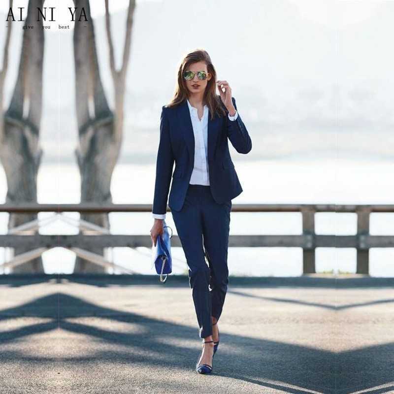 Women Pant Suits Navy Women Ladies Business Office Tuxedos Jacket+Pants Work Wear Suits Bespoke