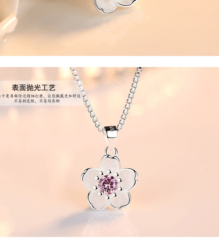 HTB1uAXMaoLrK1Rjy0Fjq6zYXFXay - Cherry Blossoms Necklace Flower Silver Chain Color Pink Purple Crystal Pendant Necklaces Jewellery Collier Femme