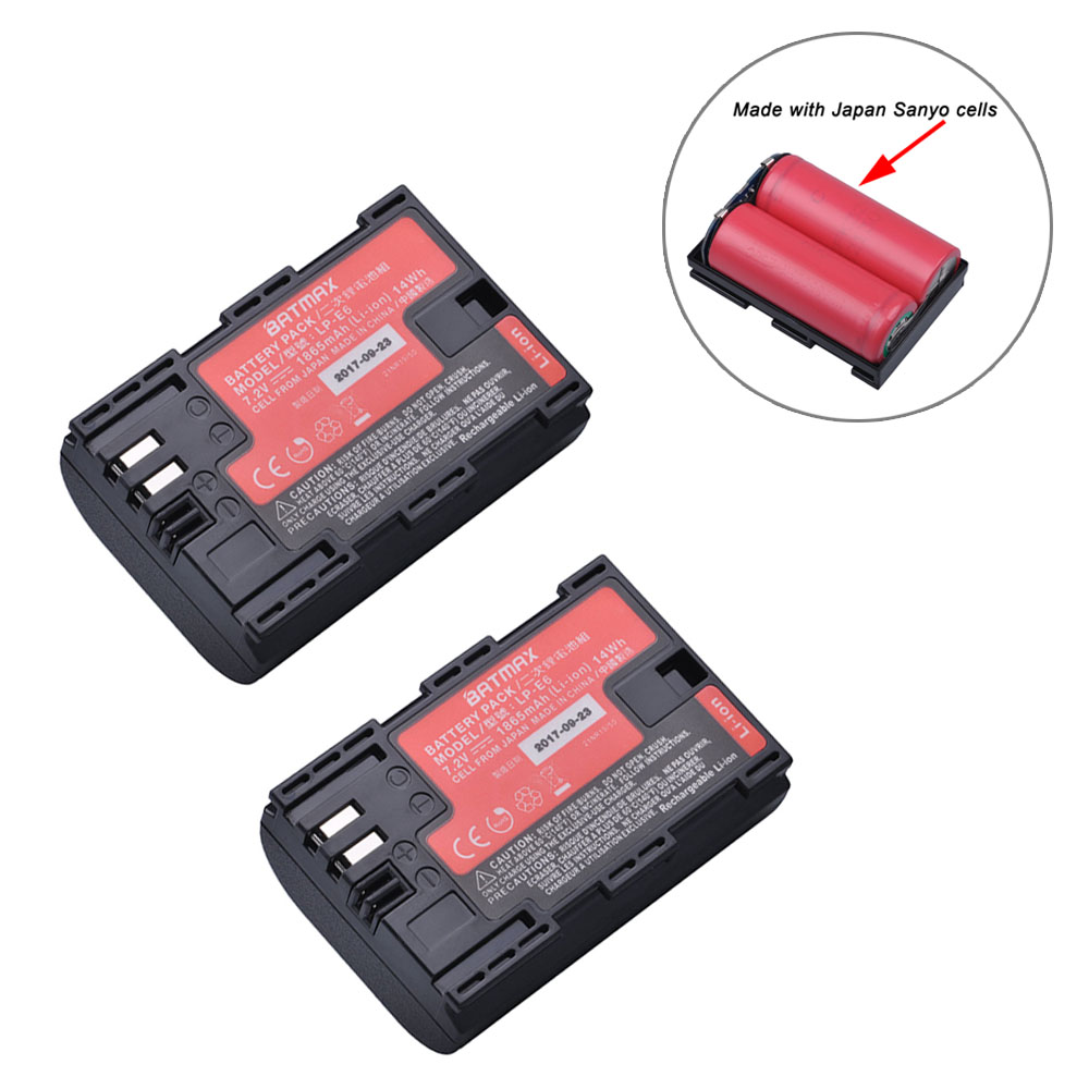 2Pc Sanyo Cells LP-E6 LP E6 LPE6N Camera Battery AKKU for Canon DSLR EOS 5D Mark II Mark III 60D 60Da 7D 70D 6D Camera accessory