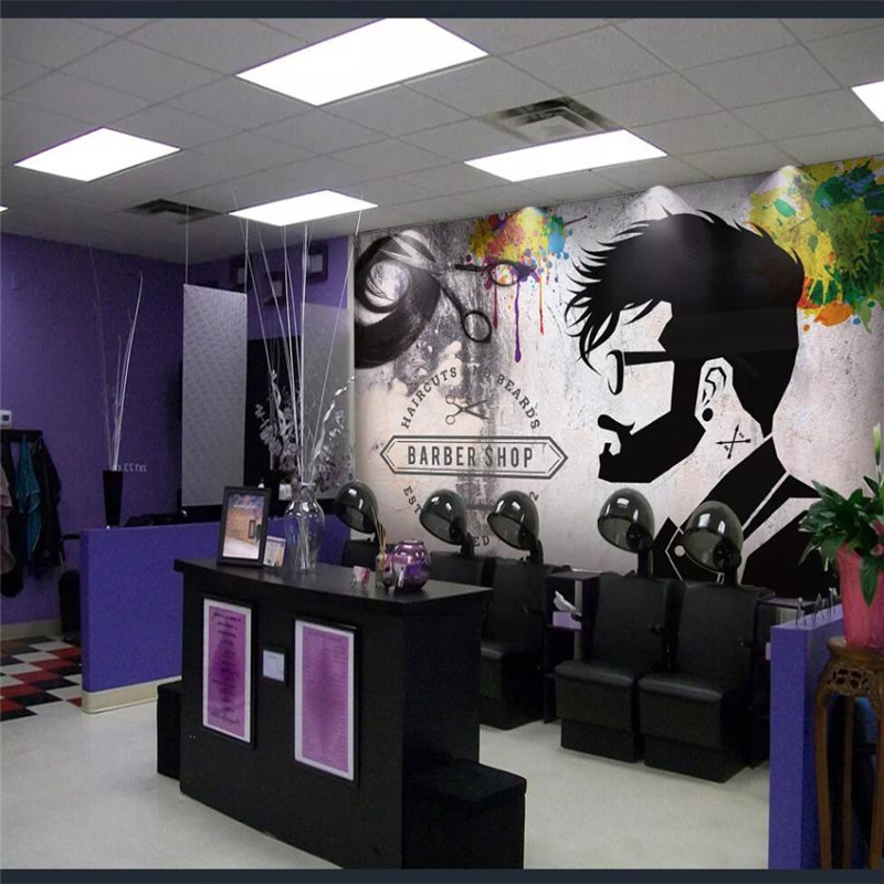 Professional Custom 3D Wallpaper Mural Fashion Beauty Salon Barber Shop Background Wall Series - High-grade Waterproof Material