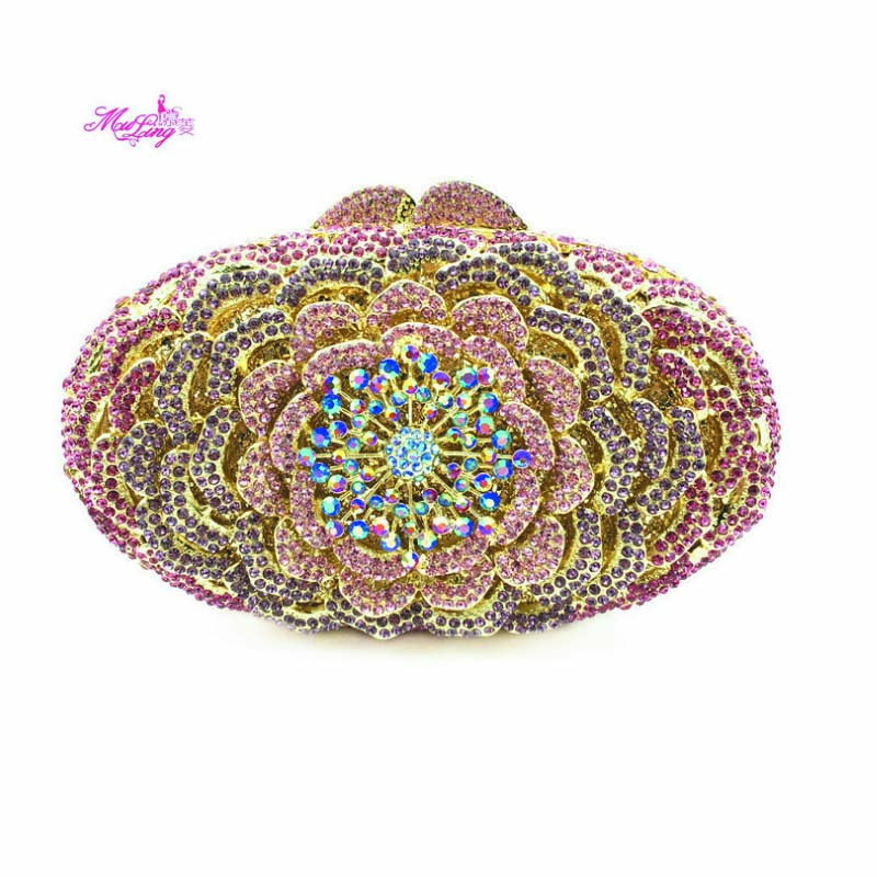 Female Clutch Fashion Handbags 2017 Stickers Package Banquet Hand Bag Evening Crystal Women Wallets Female Banquet Flower Design luxury crystal clutch handbag women evening bag wedding party purses banquet