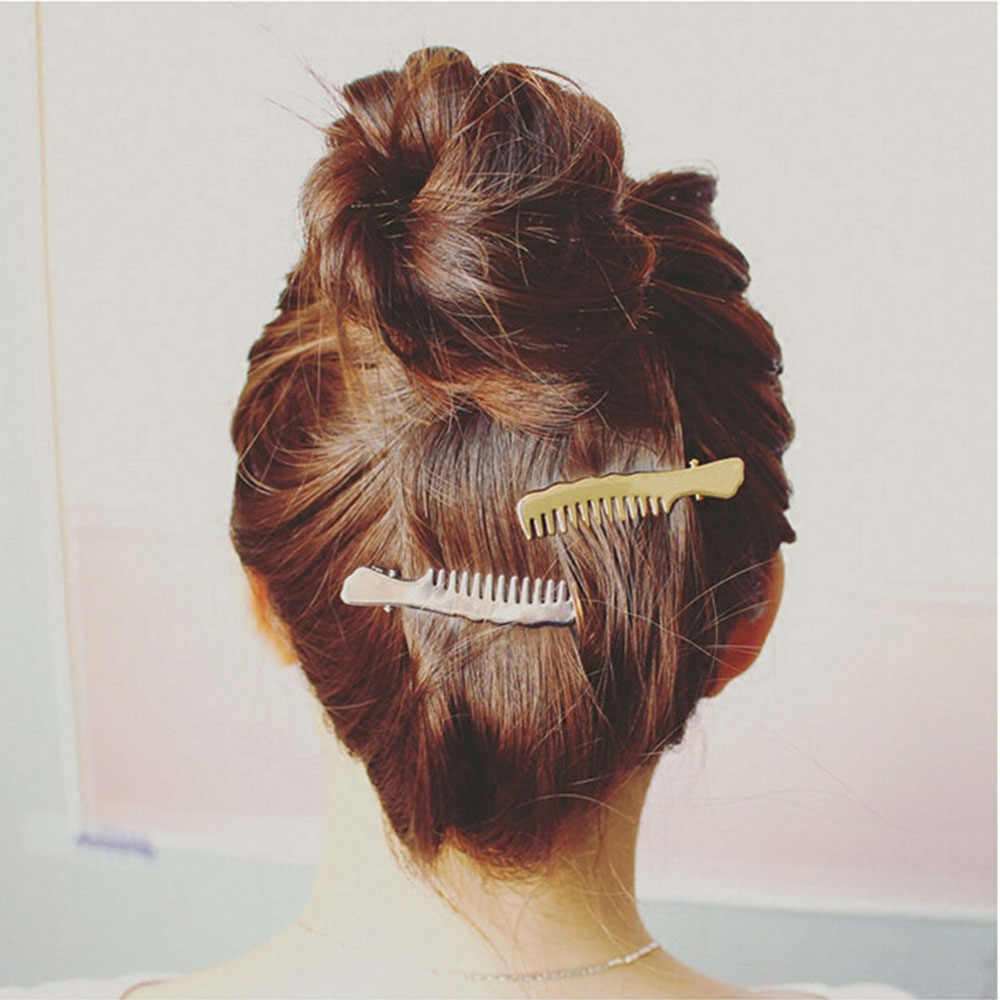 1 lược phong cách tóc trang sức Hàn Quốc kim loại chống trơn trượt mỏ vịt kẹp tóc bạc vàng nữ Mũ Phụ kiện tóc