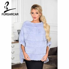 FURSARCAR 2018 New Arrival Real Fur Rex Rabbit Shawl Fashion Coat For Women Winter Jacket Cape
