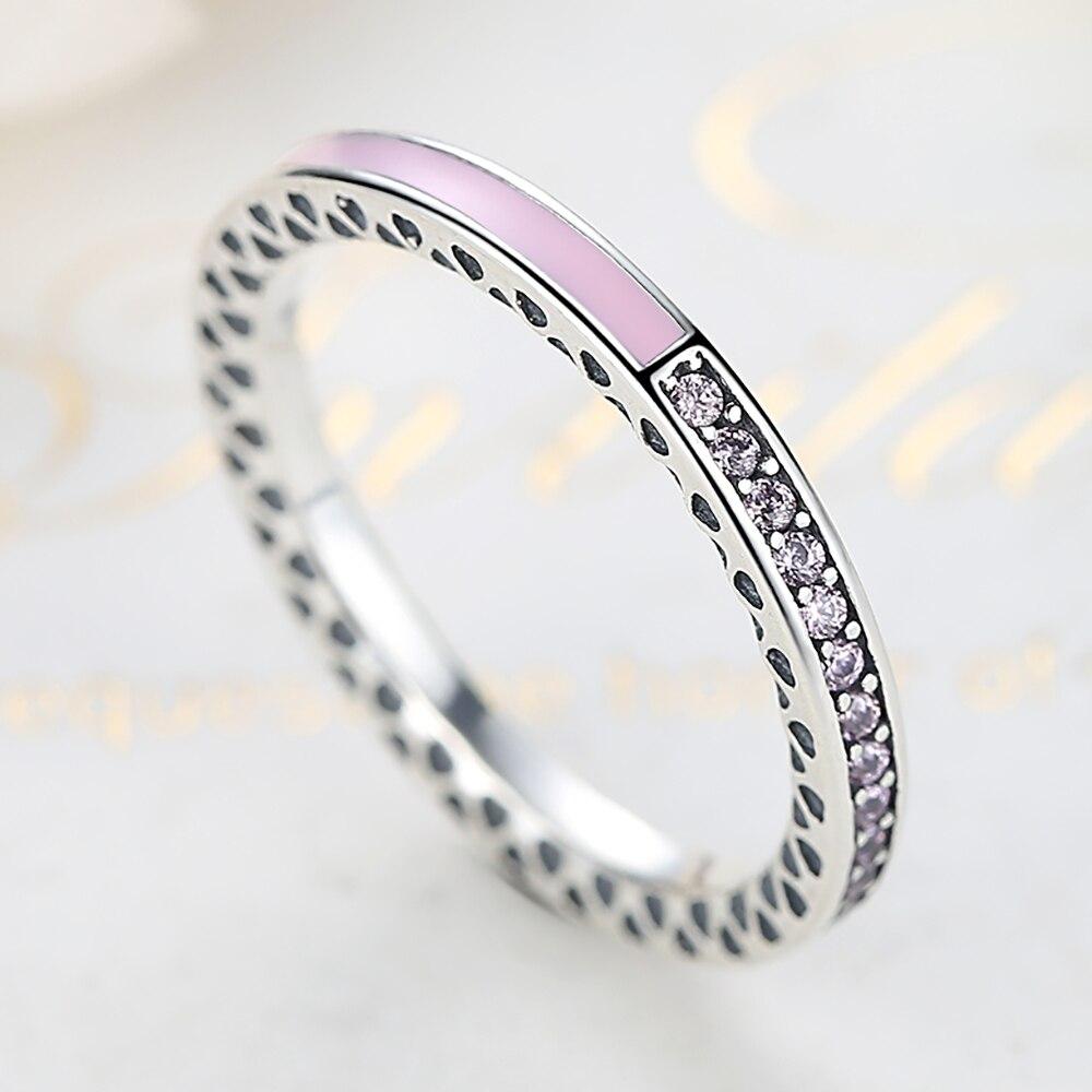 ELESHE Orijinal 100% 925 Ayar Gümüş Parmak Yüzük Kadınlar Için - Kostüm mücevherat - Fotoğraf 3