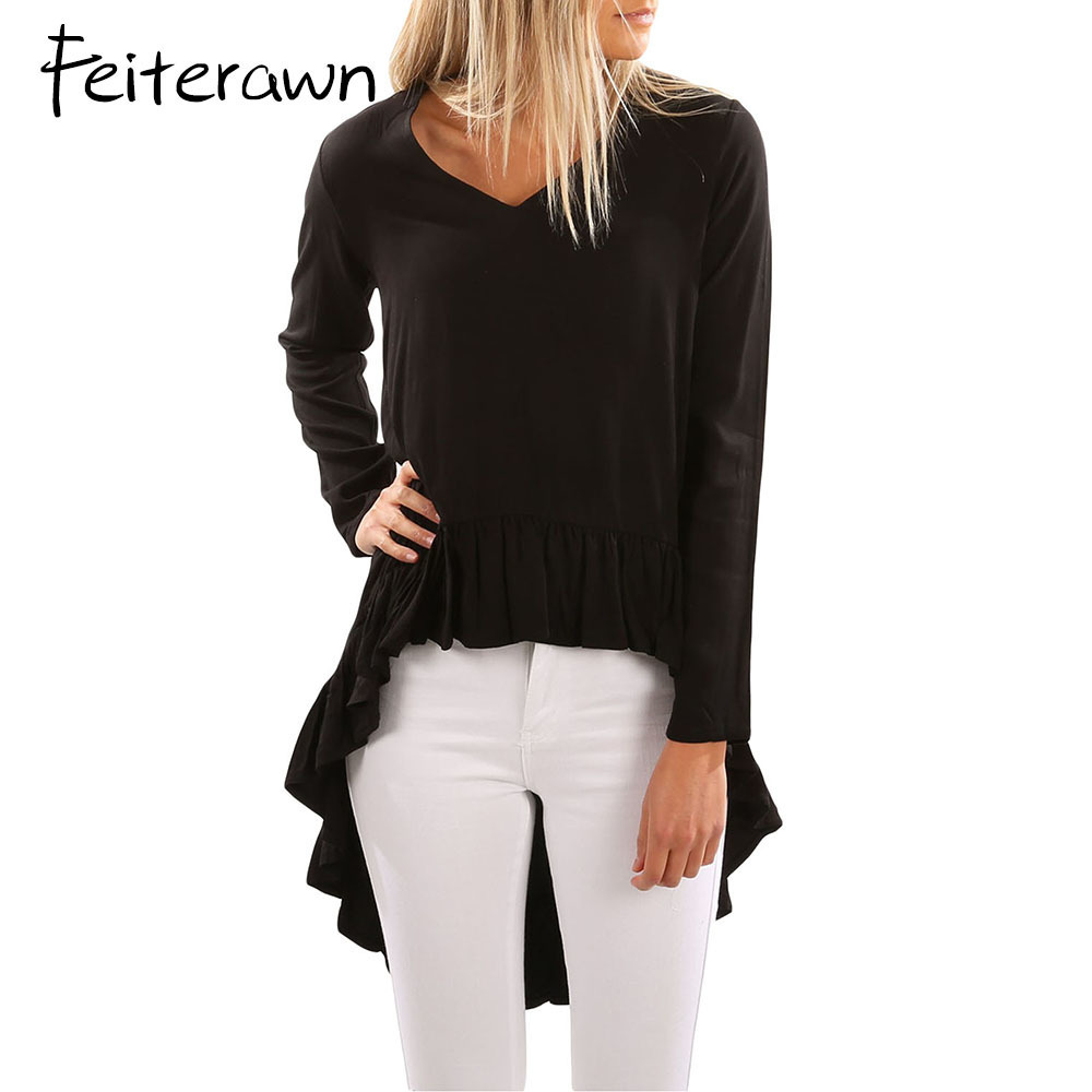 Feiterawn Women V Neck Longer Frilled Hem Back Top Autumn Long Sleeve Irregular Long Blouse Streetwear Shirts Tops DL250300