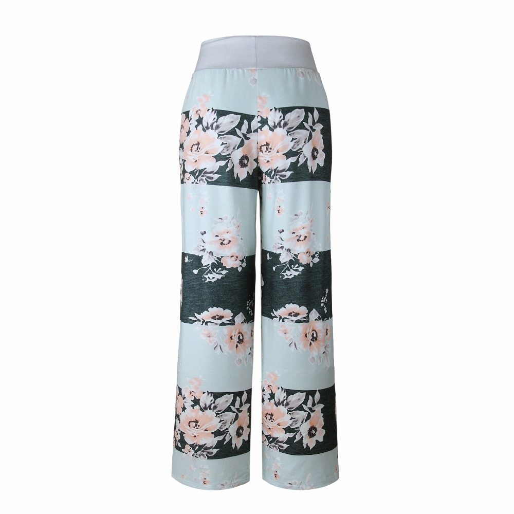 New 2018 Sleep Bottoms Women Pants Striped Floral Lace Up Waist Drawstring Wide Legs Trousers Loose Pijama Plus Size B88396 2