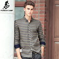 Pioneer camp de rayas hombres de la camisa de manga larga ropa de marca diseñador de la camisa de algodón ocasional de moda masculina de lujo de calidad superior 677181