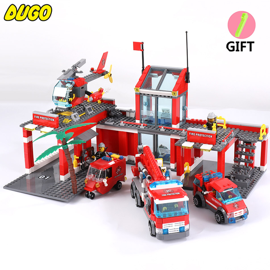 KAZI City Fire Station Truck Helicopter Firefighter Figures Building Blocks Toys Compatible Legoe City Bricks Toys For Children kazi 6726 police station building blocks helicopter boat model bricks toys compatible famous brand brinquedos birthday gift