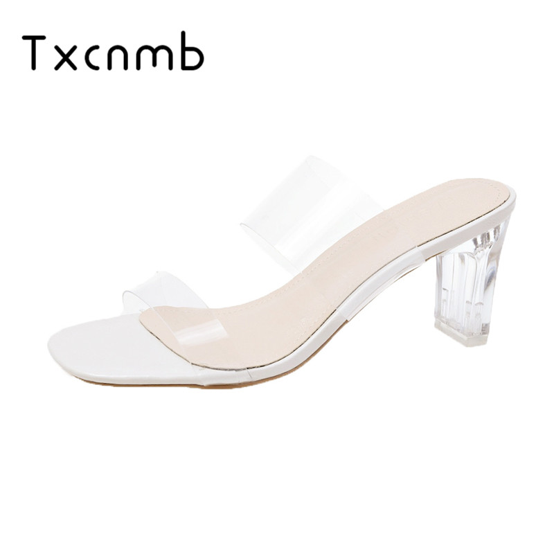 TXCNMB sandals women 2019 summer Women Shoes High Quality Female Sexy Crystal Transparent Shoes woman High Heels Head(China)