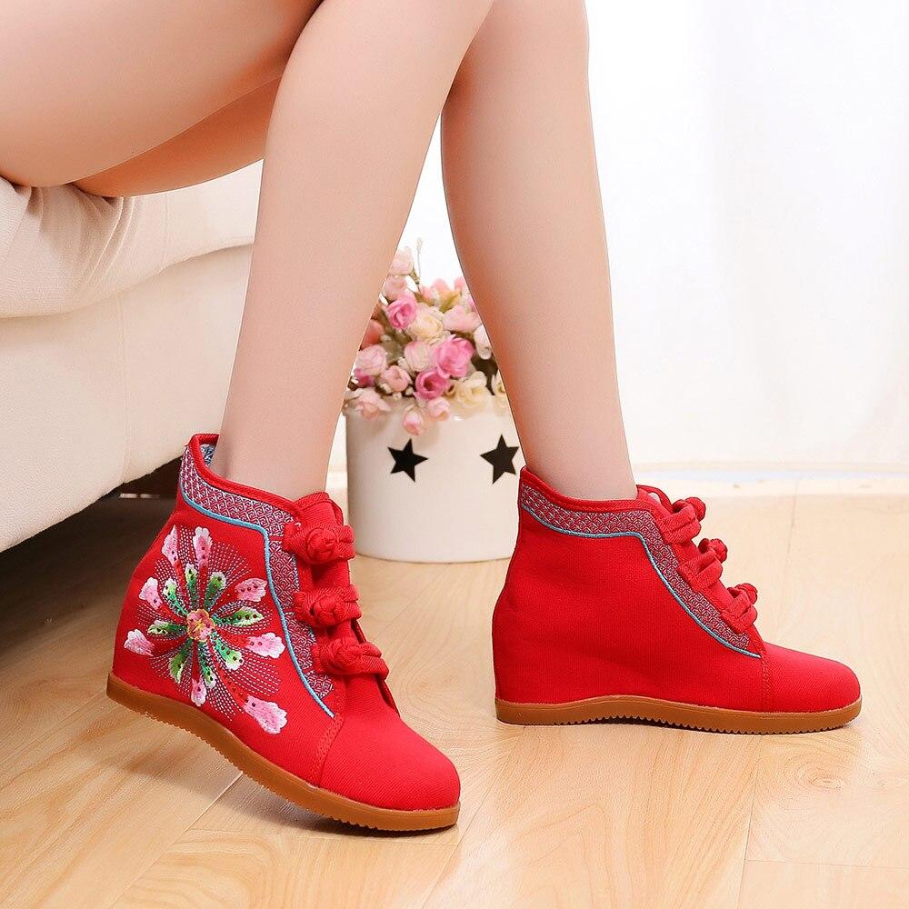 Oculta Lona Veowalk Botas High Otoño rojo Beige Botines Cuña Señoras Algodón Bordadas Bordado Mujeres Mujer Corto negro Zapatos Top wwC57FxHq
