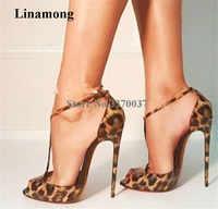 Nuevo diseño de la marca de las mujeres de moda Peep Toe leopardo charol Stiletto tacón bombas T strap tacones altos vestido Formal zapatos