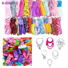 Random 30 PCS / Lot = 12x Mixed Style Mini Dresses + 12x Shoes + 6x Necklaces Clothes For Barbie Doll Accessories Kids Gifts Toy