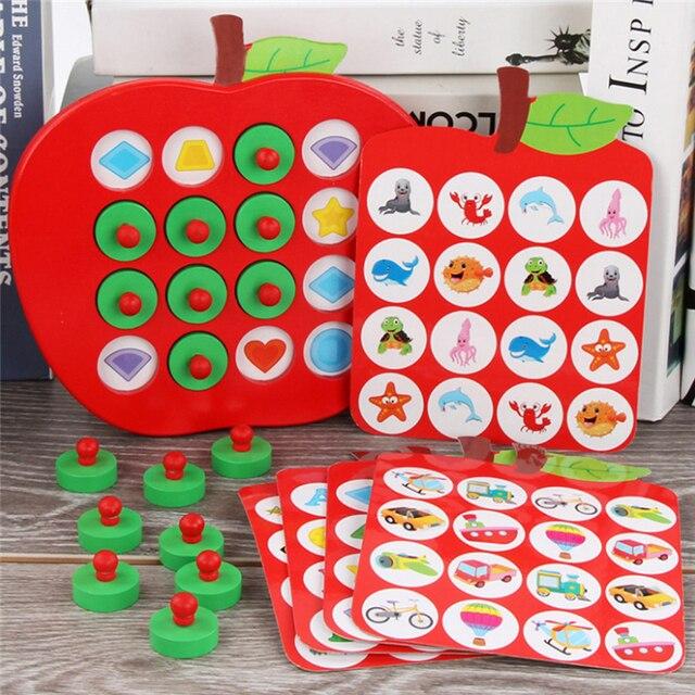 子供木製の Apple メモリマッチングチェスゲーム早期教育 3D パズルファミリーカジュアルゲームパズル理想的なクリスマスギフト