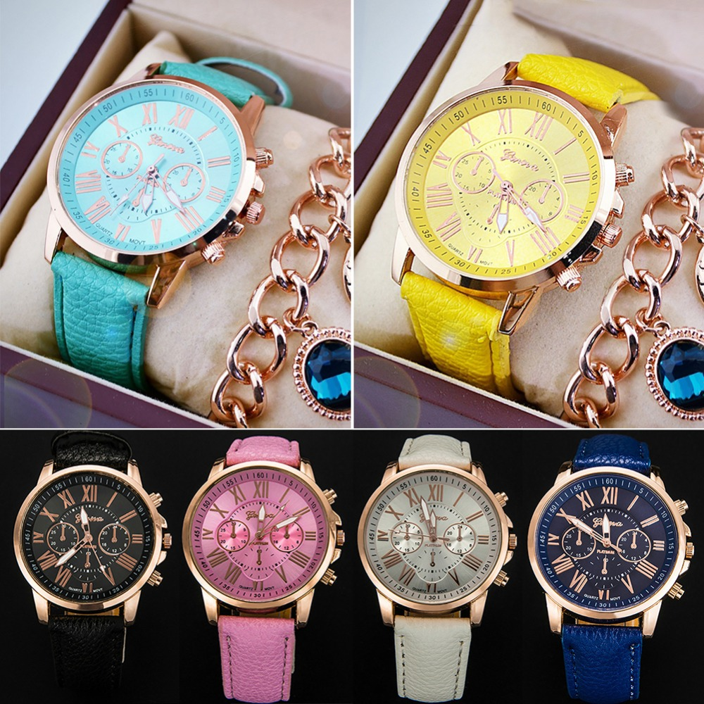 Fashion Geneva Roman Numerals Leather Analog Quartz Watch Casual Couple Watch Wrist Watches #267945 2017 fashion erkek saat quartz watch women girl roman numerals leather band wrist bracelet watches hot sale dropship relogio