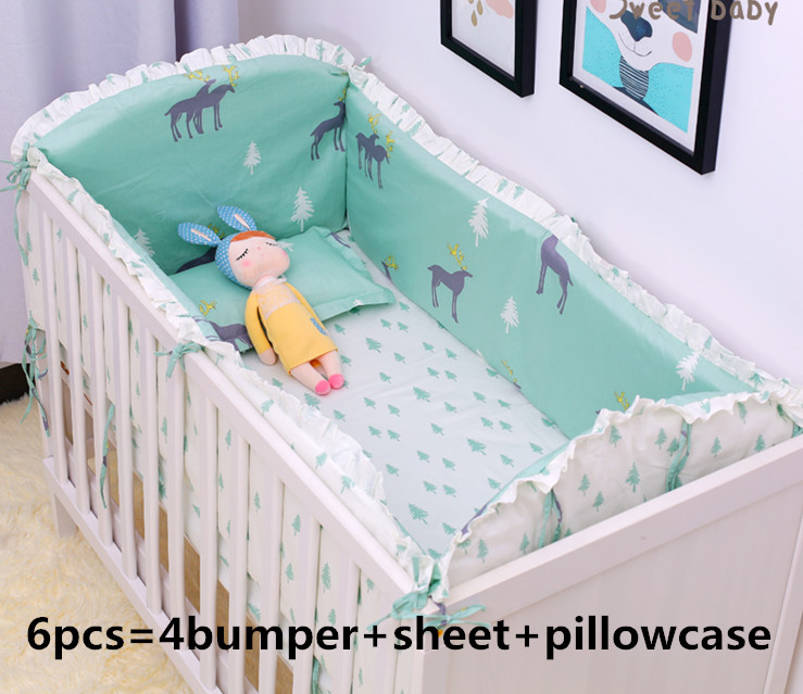 Us 43 8 Promotion 6 9pcs Elk Bedding Set 100 Cotton Curtain Crib Per Baby Cot Sets Bed Blanket Sheet Whole In