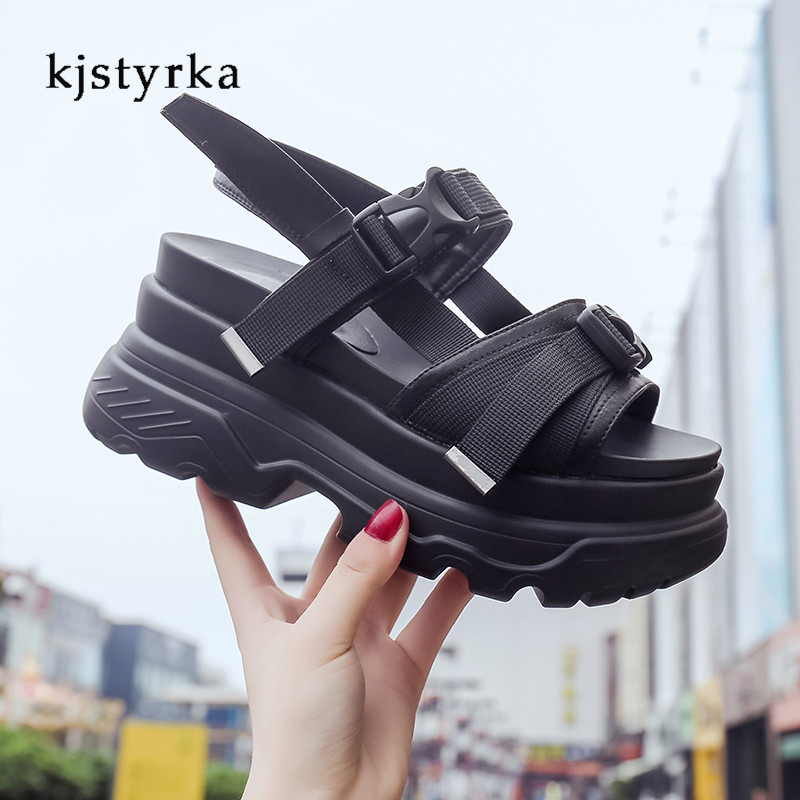 цена на Kjstyrka Fashion Women Summer Sandals Wedges thick bottom Platform Slippers ladies walking shoes zapatillas chinelo sandalia