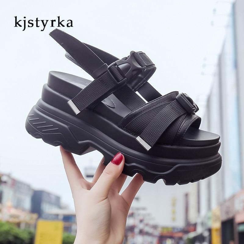 Kjstyrka Mode Frauen Sommer Sandalen Keile dicken boden Plattform Hausschuhe damen wanderschuhe zapatillas chinelo sandalia