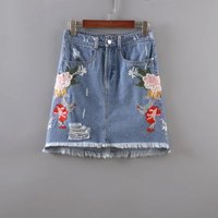 2017 Spring And Summer New Fashion Women Flower Embroidery Denim Skirt Female Quality Casual High Waist