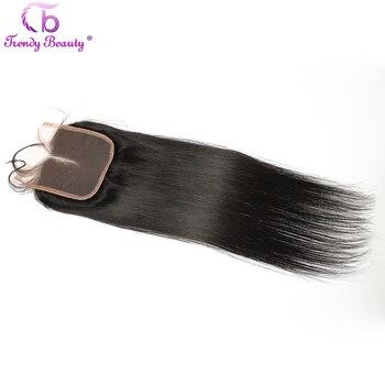 Belleza de moda, cierre de encaje peruano, pelo humano liso, medio/Tres/libre, parte 4x4 pulgadas, pelo liso Remy, cierre se puede teñir
