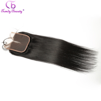 Trendy Beauty Peruvian Lace Closure Straight Human Hair Middle Part 4x4 Straight Human Hair Closure Can