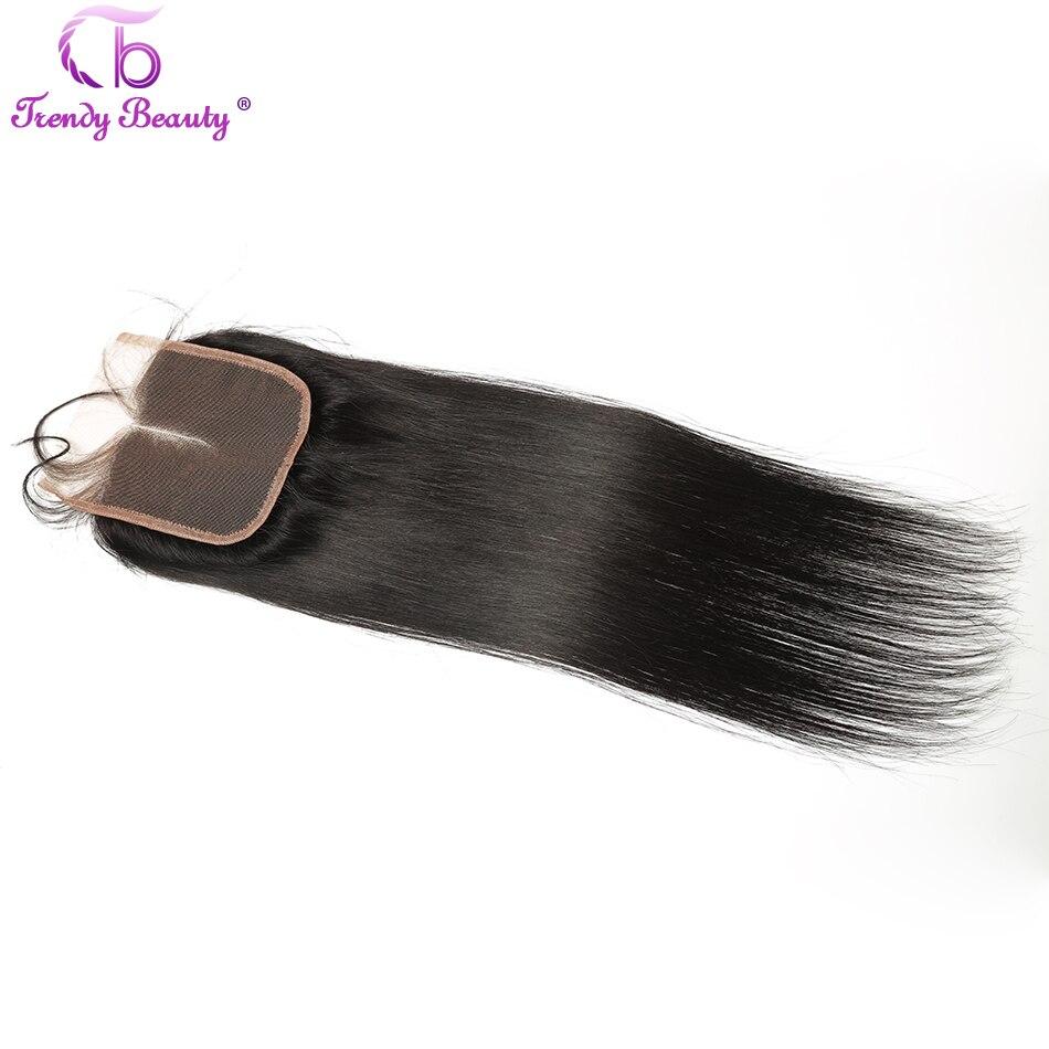 Trendy Bellezza Chiusura Del Merletto Peruviano Lisci capelli Medio/Tre/Parte Libera 4x4 inches Remy Diritta capelli Chiusura Può Essere Tinto