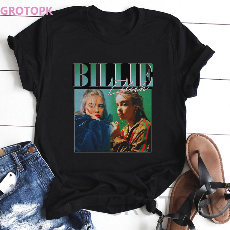Womens T Shirts Billie Eilish Print 90s Vintage Black T-Shirt for Women Tops Tee Polyester Casual Street Clothing Vogue Tops