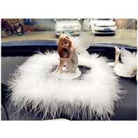 1PC Little Angel With Wings Car Interior Ornaments Lovely Cartoon Decoration Car accessory Auto Decor White Fur Non slip Mat
