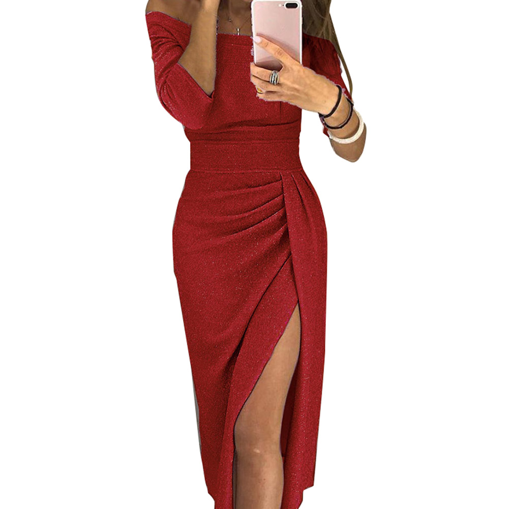 New Hot Women Lady Off Shoulder High Slit Slim Solid Color <font><b>Bodycon</b></font> <font><b>Dress</b></font> for Party YAA99 image
