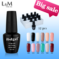 12 Pcs Black ibdgel color UV Gel Nail Polish The best quality nail gel for nail art  nail tools(10 colors+1top coat+1base coat)