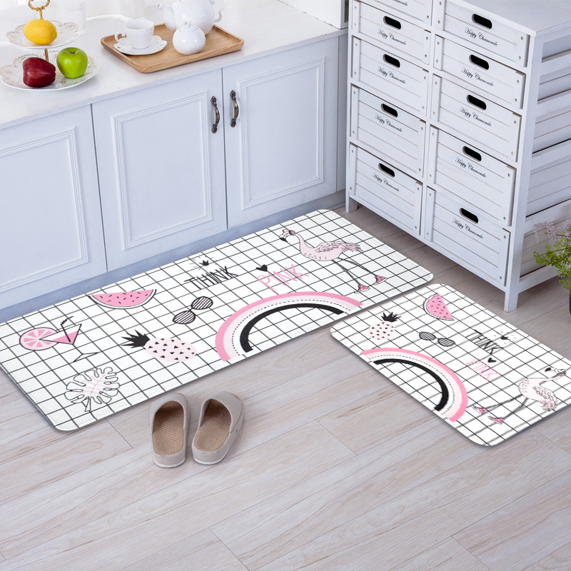 Cartoon Flamingos Kitchen Bathroom Rectangle Mats For Living Room Bedroom Modern Style Decorative Floor Mats Non-Slip Carpet Rug